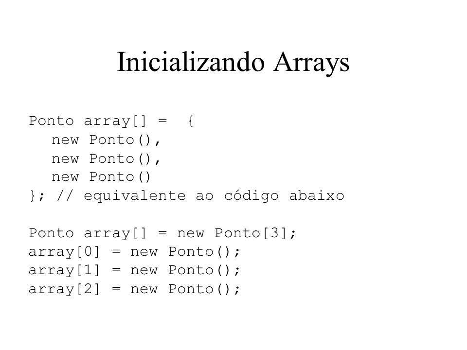 Inicializando Arrays Ponto array[] = { new Ponto(), new Ponto()